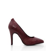 Stiletto De Cuero Crocco Zapatos Blaque