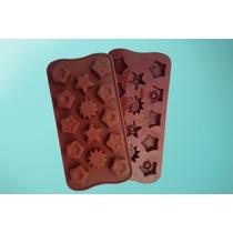 Molde De Silicona Chocolate Estrellas Hexagonos Bombones