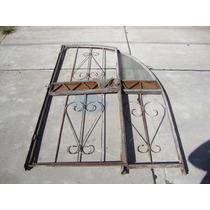 Antigua Puerta Con Paño Fijo 1/2 Punto Con Manijas De Bronce