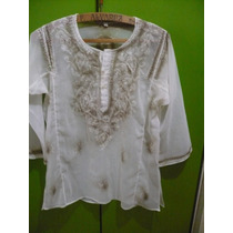 Blusa Transparente Bordada Hilo Y Paillets M/larga
