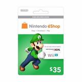 Nintendo Eshop 35 Usa Tarjeta 3ds Wii U Platinum Microcentro