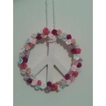 Simbolo Paz Colgante Deco Shabby Flores