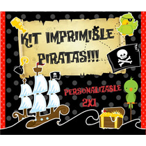 Kit Imprimible Piratas Premiu, Editable Y Personalizable 2x1