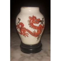 Florero Miniatura Ceramica Antigua Figura Oriental Firmada