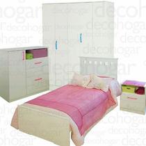 Cama Dormitorio Juvenil Placard Mesa Luz Comoda Mosconi