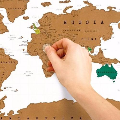 Mapa Raspa Scratch Map Raspadita Viajeros Vinilo Regalo Blanco Y Marron