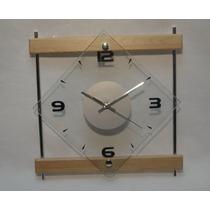 Moderno Reloj Pared De Vidrio 31 Cm Base Madera Y Metal