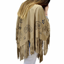 Ponchos Calados Gamuza Flecos Mujer The Big Shop
