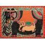 Elefante Madhubani En Tela Canvas De 50x70 Cm - Exelente