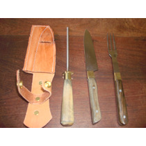 Espectacular Set De Cuchillo Tenedor Y Chaira
