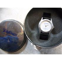 Reloj Telefonica Unisex Cuarzo Malla Cuero Cuad Blanco Caja