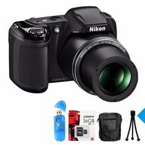 Nikon Coolpix L340 Supera L330 28x 20mp+ 16g C10+ Bolso Y +!