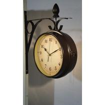 Reloj Pared Doble Metálico Estación Estilo Antiguo Vintage