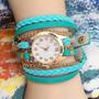 Reloj Pulsera Vintage Mujer Cuero Brazalete Doble Vuelta