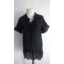 Fadma Blusa Vestido Algodon Negro Talle S M Impecable