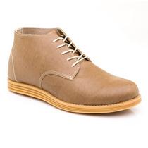 Zapato Botita Cuero Sintético Con Cordones (habano)
