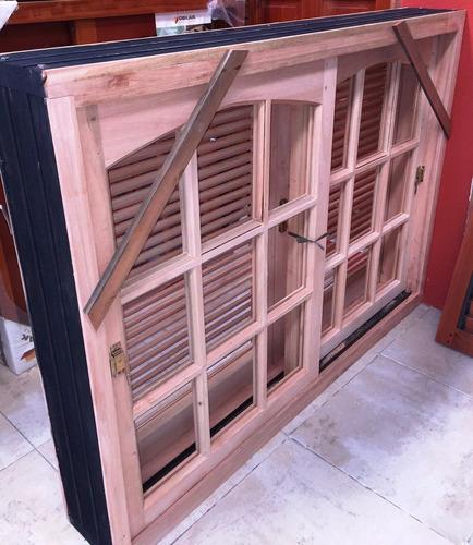 Ventana madera grandis repartido con postigo celosia for Mercadolibre argentina ventanas de madera