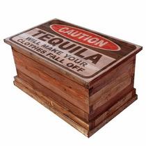 Caja Deco Mesa Ratona Tequila Baúl Madera Recicla 90x60x60cm