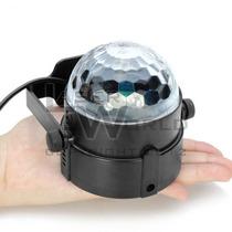 Mini Bola Led Rgb Giratoria C/ Soporte, Esfera Leds Mágica