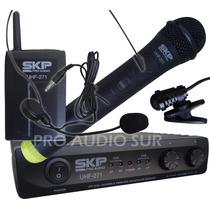 Microfono Mano Vincha Corbatero Skp Uhf 271 Inalambrico