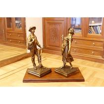 Escultura De Bronce Pareja De Campesinos