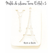 Molde De Caucho De Silicona Torre Eiffel 2 Tamaños Flexible