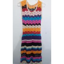Vestido Crochet Tejido Juana De Arco Talle Unico. Impecable.