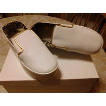 Panchas Zapatillas Blancas C/plataforma Y Ribete Color Oro