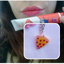 Collar Pizza Y Labial Sexy Red