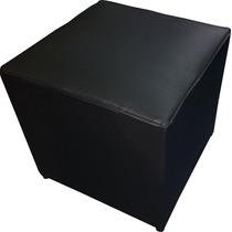 Puff Cubo Estructura Maciza Cuero Ecológico