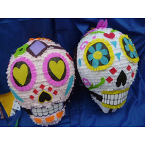 Piñata Calavera Mexicana!! Única!! De Pájaros En La Cabeza