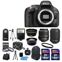 Kit Nikon D5200 18-55 24mp Digital Slr + 55-200 + Accesorios