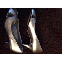 Zapatos Plateados De Fiesta Excelente Calce-muy Buen Estado