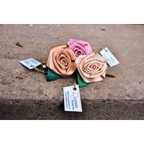Hebillas Con Rosa En Tela Artesanales