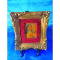 El Arcon Antiguo Cuadro Virgen Marco Dorado A La Hoja 17072