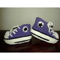 Botitas Crochet Para Bebe! Zapatillas Modelo All Star!!!
