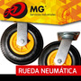 Rueda Neumatica Carreta Carro Base Fija Giratoria Industrial