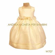 Vestido Bebe Nena Fiesta Bautismo Manteca Moneta A Mano W707