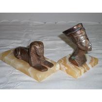 Bello Lote De Dos Figuras Egipcias De Metal Sobre Marmol