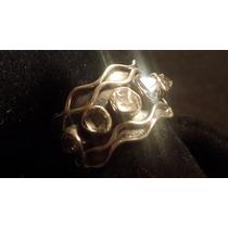 Anillo De Plata 925 Y Diamantes Herkimer