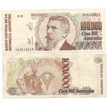 Billete 100.000 Australes Serie A Año 1990 Estado Muy Bueno+
