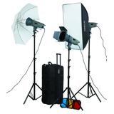 Kit 3 Flash Estudio 300w Visico Y Accesorios Envio Gratis