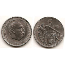 Moneda De España 5 Pesetas Año1957 Km#786 Estrellas = 65