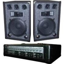 Combo Consola 5 Can C/ Efecto+pot 200w +2 Bafles+1 Micrófono