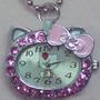Precioso Reloj Con Kitty De Acero,cristales Rosas¡divino!!