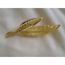 Broche Prendedor Diseño Hojas Enchapado Oro
