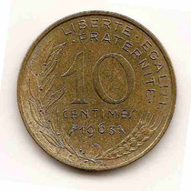 Moneda De Francia 10 Centimes Año1963 Km#929 Bronce Aluminio
