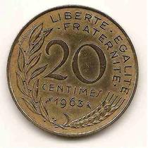 Moneda De Francia 20 Centimes Año1963 Km#930 Bronce Aluminio