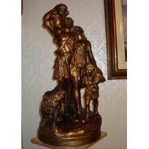 Antigua Escultura Veneciana. Grande. En Cerámica Policromada