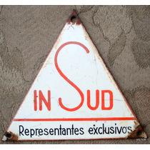 Antiguo Cartel Enlozado Publicitario De Representacion 12 Cm